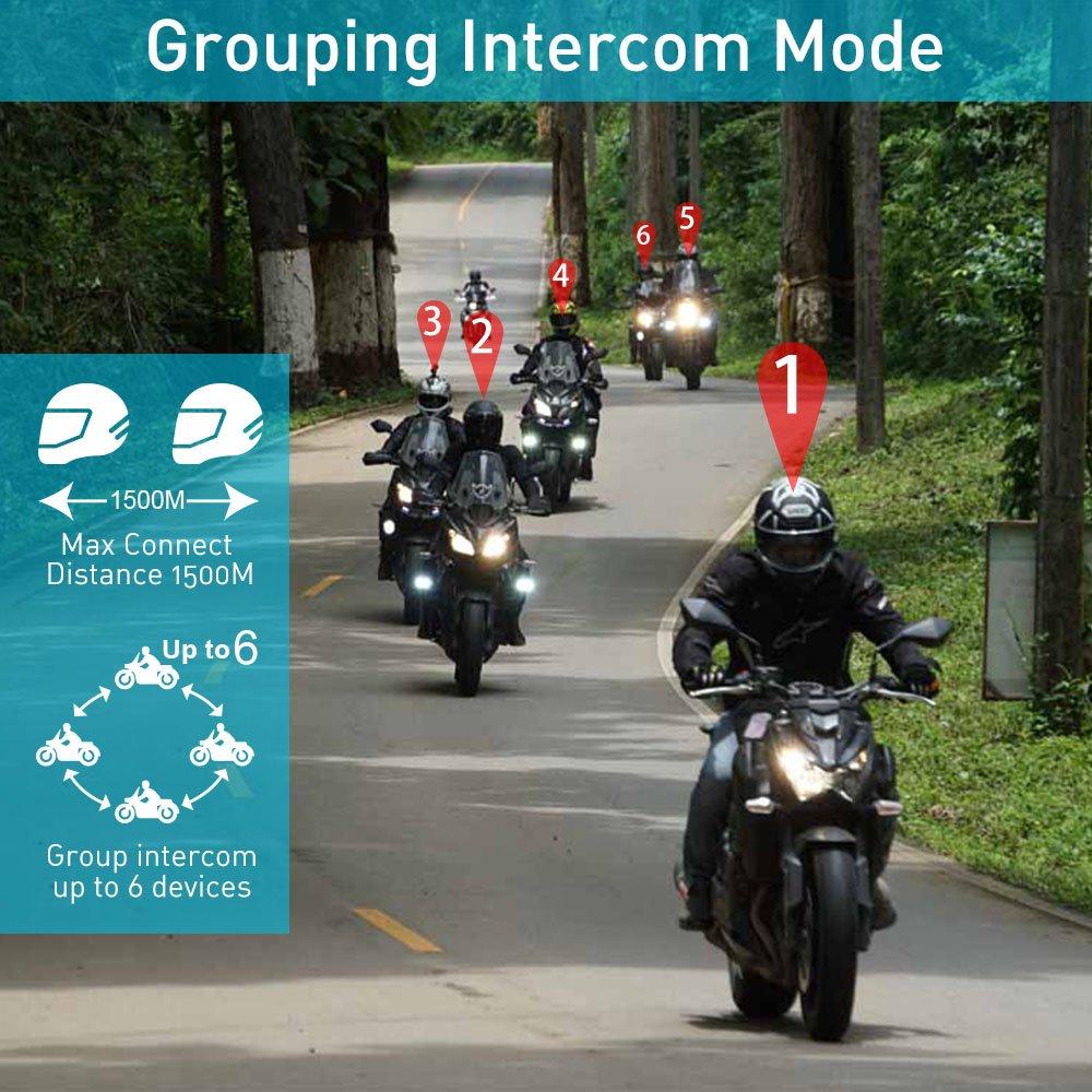 Sistema de comunicación para motocicleta Casco Bluetooth Interfono FreedConn T-MAX Walkie Talkie completo para 6 pasajeros Intercomunicador grupal, 1500M, ...