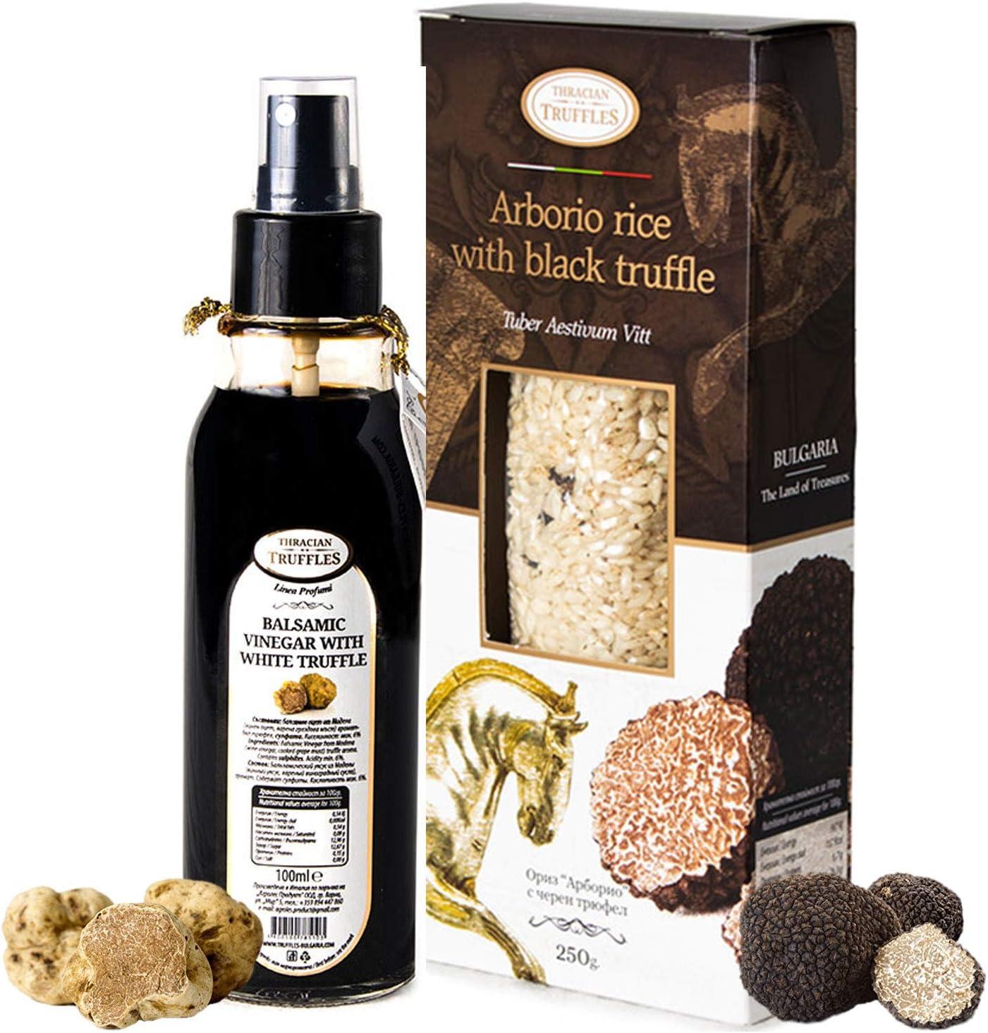 Arborio Risotto Arroz con trufa de verano negro Aestivum Vitt rico en fibras antioxidantes 250 g y vinagre balsámico de Módena con trufa blanca Magnatum Pico ensalada Spray Best Gourmet