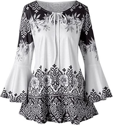 CUCUHAM Women Autumn Casual Floral Printing Long Flare Sleeve Tops T-Shirt Blouse