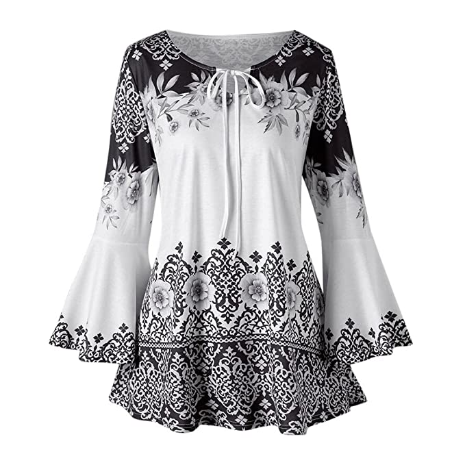 70044bbb933 Women's Fashion T-Shirts Long Sleeve Floral Print Lace Up Casual Flare Tunic  Blouse Tops for Ladies Teen Girls Loose Jumper Sweatshirts Pullover Plus  Size ...
