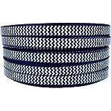 "50yd 3/8"" White Chevron Printed Navy Blue Grosgrain Ribbon for Hairbow"