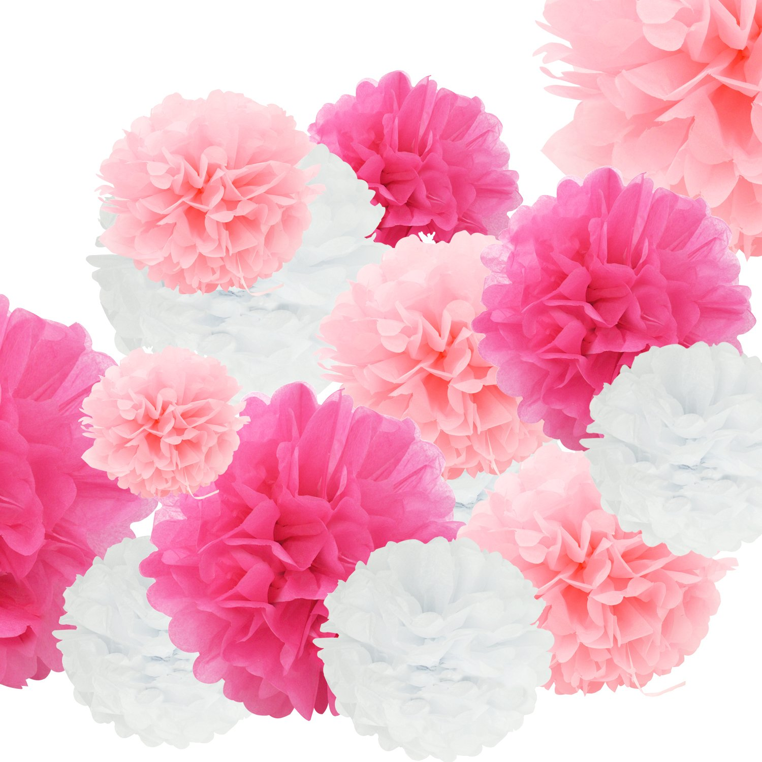 24pcs Craft Paper Tissue Pom Poms, Doubletwo Ceiling Decor Wall Decor; 12in 10in 8in Hanging Paper Pom-poms Flower Ball Wedding Party Outdoor Decoration Flowers Craft Kit (Pink White) DT-pompom