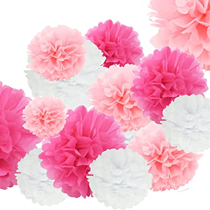 Amazon 24pcs craft paper tissue pom poms doubletwo ceiling 24pcs craft paper tissue pom poms doubletwo ceiling decor wall decor 12in 10in 8in mightylinksfo