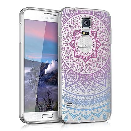 kwmobile Funda compatible con Samsung Galaxy S5 / S5 Neo - Carcasa de TPU y diseño de sol hindú en azul / rosa fucsia / transparente