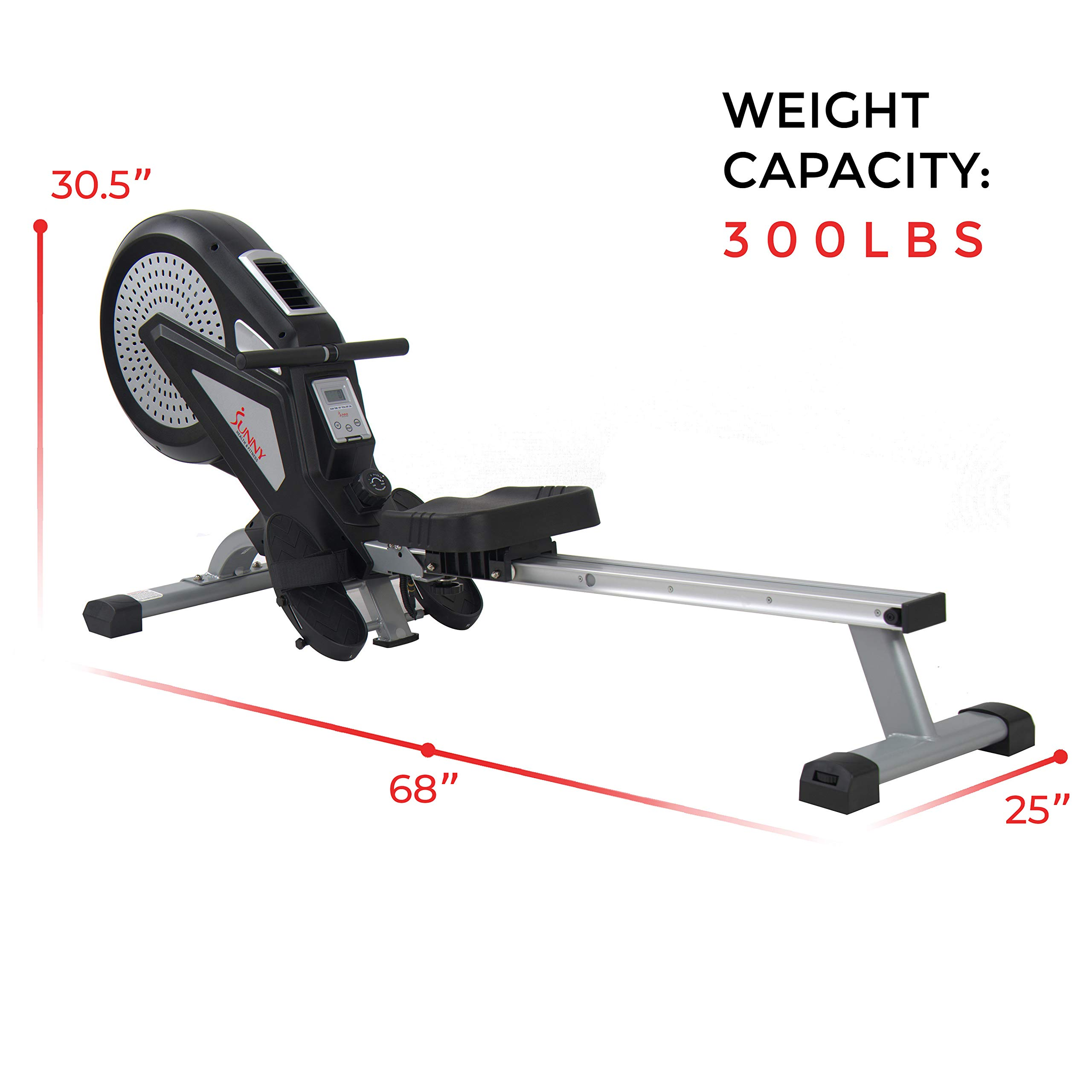 Sunny Health & Fitness Air Rower Rowing Machine w/ LCD Monitor, Dual Belt and Air Resistance SF-RW5623 by Sunny Health & Fitness (Image #22)