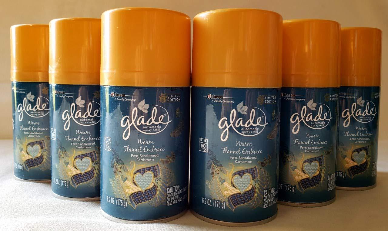 6 Glade PLUGINS AUTOMATIC SPRAY REFILLS Warm Flannel Embrace Fern Limited Edit.