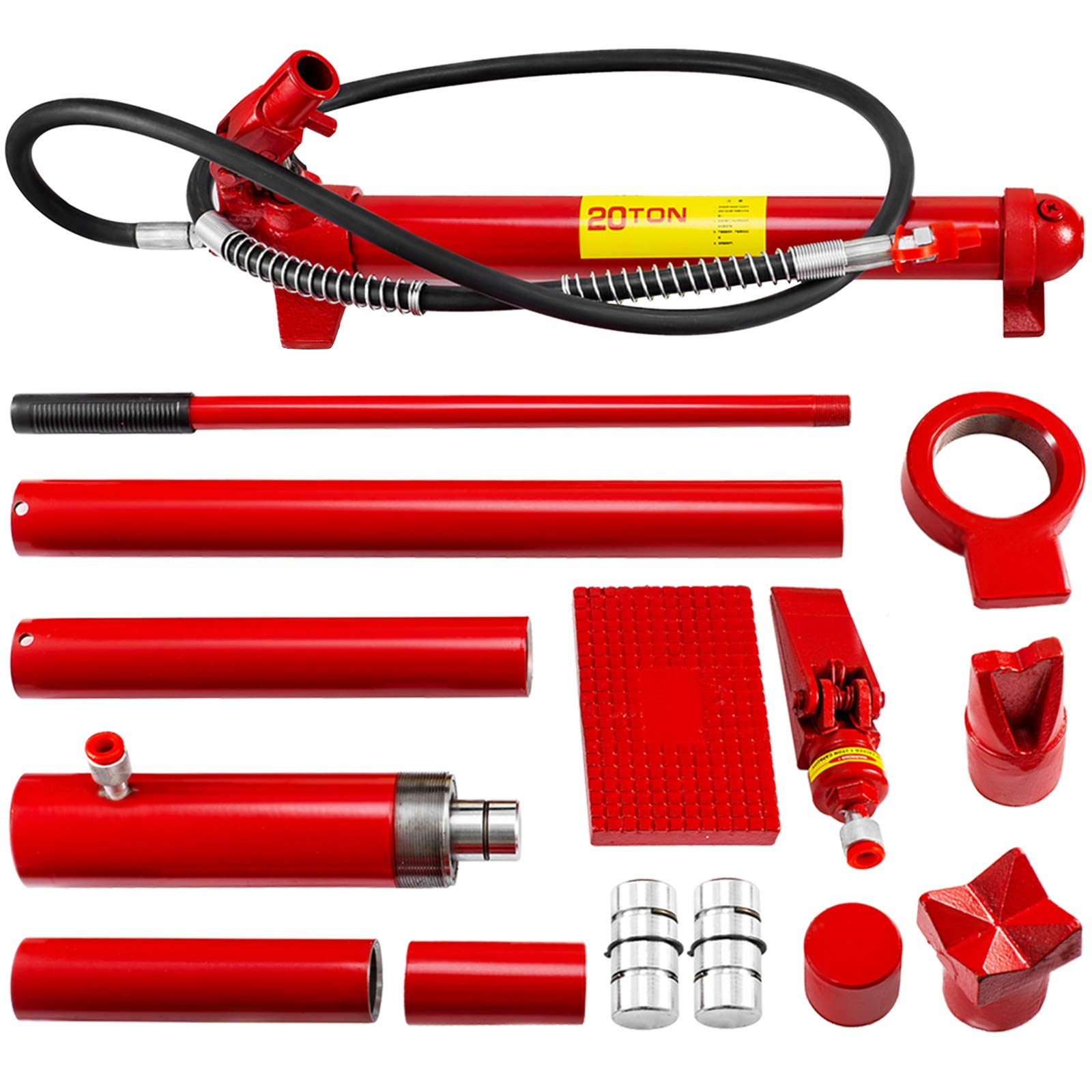 Mophorn 20 Ton Porta Power Kit 2M Hydraulic Car Jack Ram 13.78 inch Lifting Height Autobody Frame Repair Power Tools for Loadhandler Truck Bed Unloader Farm and Hydraulic Equipment Construction by Mophorn