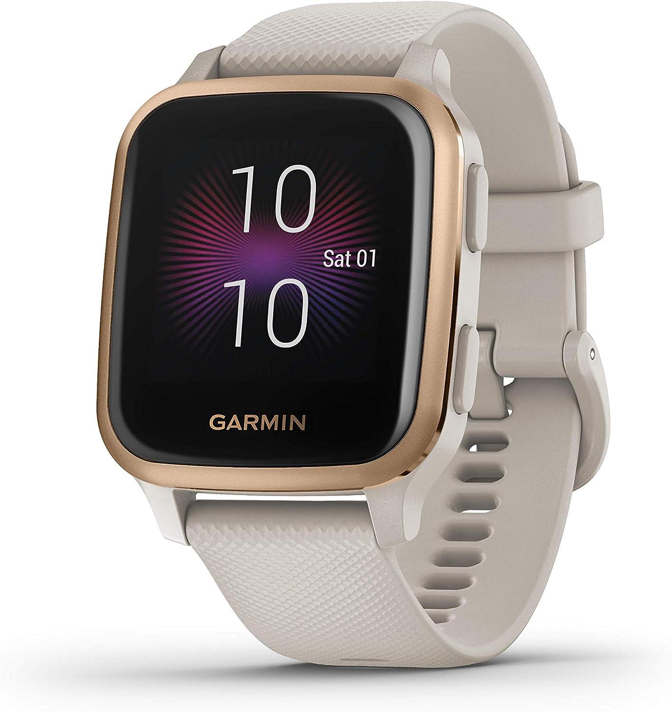 Garmin Venu Sq Music, Reloj Inteligente con GPS, Beige/Rosa Dorado