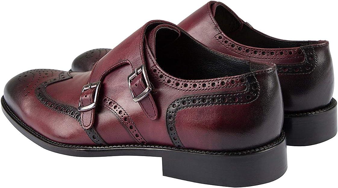 Handmade Tan Burnished Genuine European Leather Double Monk Strap Shoes Jack Martin