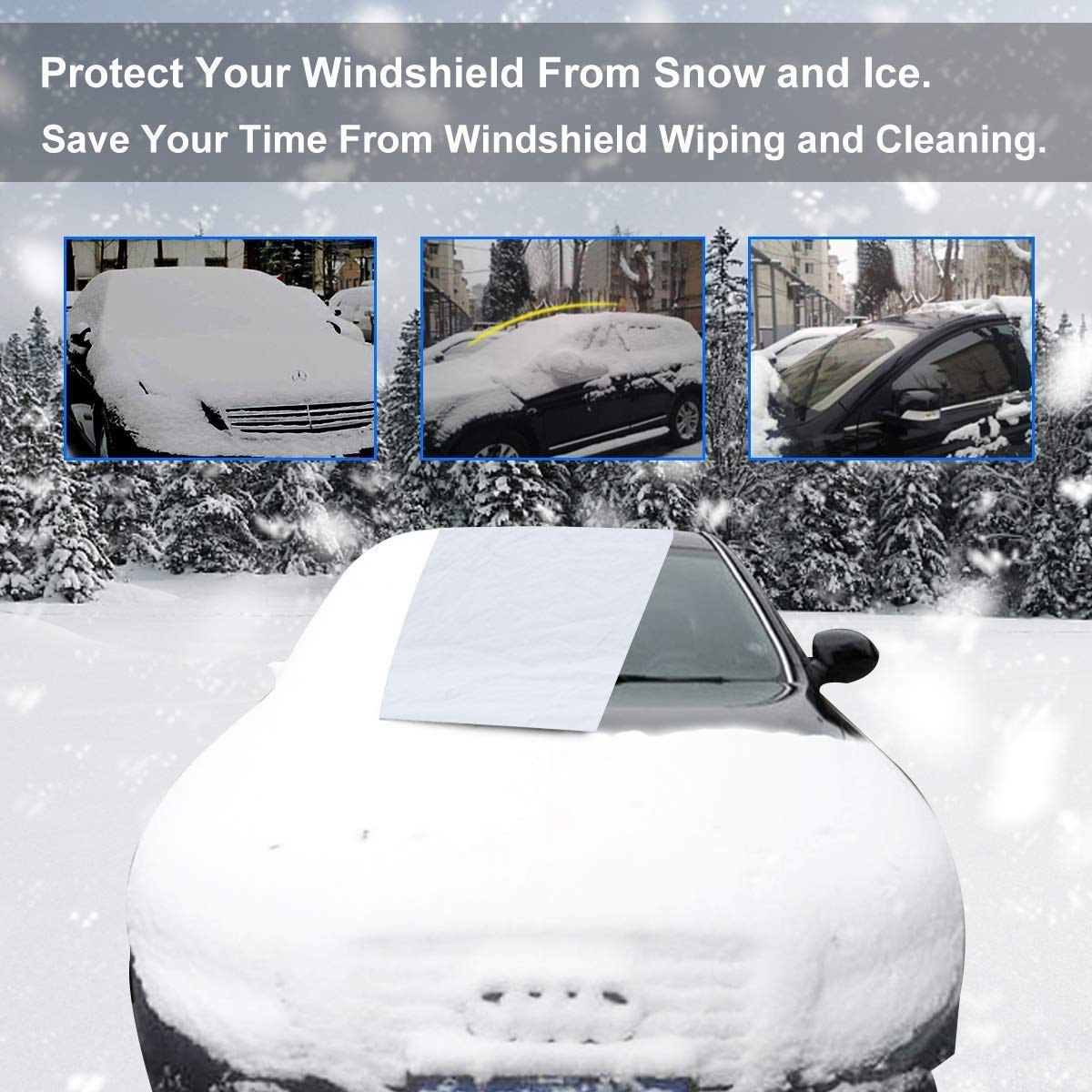 Winter Ice Frost Rain Sun Shade Waterproof Protector Hood with Reflective Strips for Car Minivan and SUV Car Windshield Snow Cover