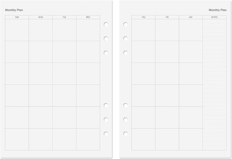 Discagenda Planner Insert Refills 6-Ring Ringbound 60 Sheets 120gsm 80lb 148x210mm Blank, A5