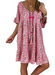 ea0a255ea7a ROSKIKI Womens Short Sleeve Round Neck Floral Casual Summer Dresses Loose  Beach Sun Dresses Knee Length