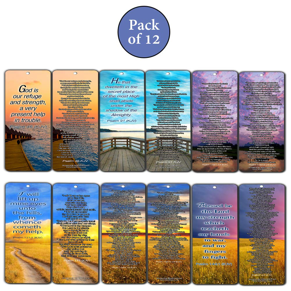 Psalm Bookmarks Cards (KJV Version - 12 Pack) -Christian KJV Version Bible  Scripture Prayer Cards - Psalm 46, Psalm 91, Psalm 118, Psalm 121, Psalm