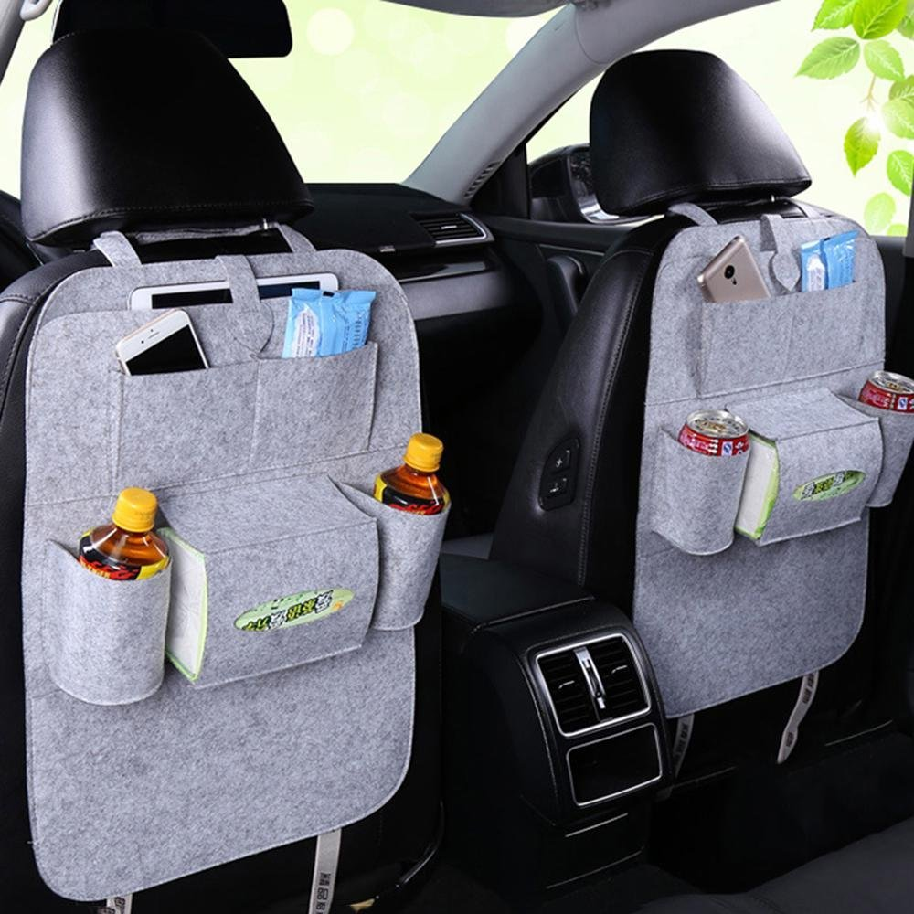 Car Back Seat Organizer BYBYCD Car Storage Bag Car Protector with Multi Pocket Storage Bag Holder for iPad Tablet Bottle Drink Tissue Box Toys Vehicles Travel Accessories (Gray 2 Pack)