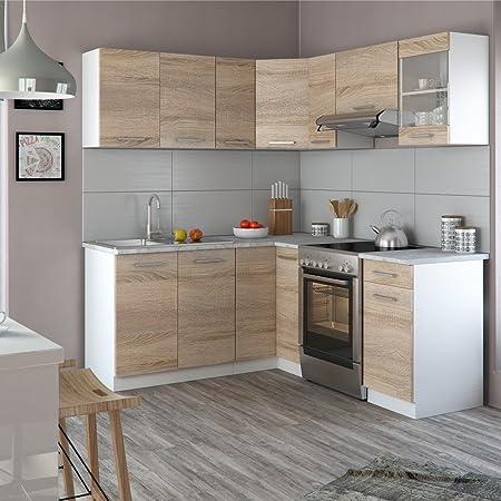 Vicco winkelküche inkl edelstahlspüle l form eckküche küchenzeile sonoma eiche frei kombinierbare einheiten amazon de küche haushalt