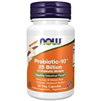 NOW Supplements, Probiotic-10, 25 Billion, with 10 Probiotic Strains, Strain Verified, 50 Veg Capsules