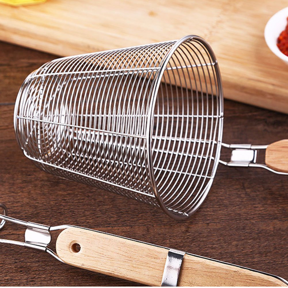 XH Stainless Steel Strainer Basket with Long Handle, Frying Food Noodles Dumpling Fondue Mesh Basket (L) by XHHOME (Image #2)