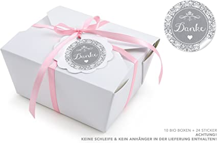 10 cajas blancas + 24 pegatinas de color gris • Caja de regalo para invitados de 600 ml, rectangular, de cartón kraft: Amazon.es: Oficina y papelería