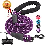 JBYAMUS 5 FT Strong Dog Leash with Comfortable Padded Handle, Heavy Duty Metal Clasp and Highly Reflective Threads for Small, Medium and Large Dogs