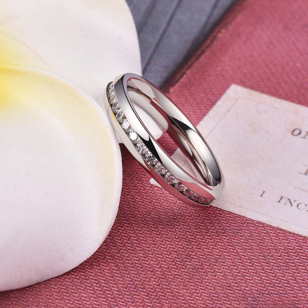 Amazon.com: Three Keys Jewelry 4mm Womens Eternity Titanium CZ ...