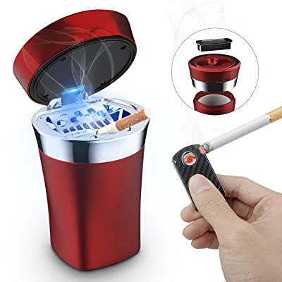 SOLARXIA Car Ashtray, Auto Ashtray Cigar Electronic Cigarette Lighter Detachable Solar Powered/USB Rechargeable with Lid Blue LED Light for Most Car Cup Holder Home Office (Red): Automotive