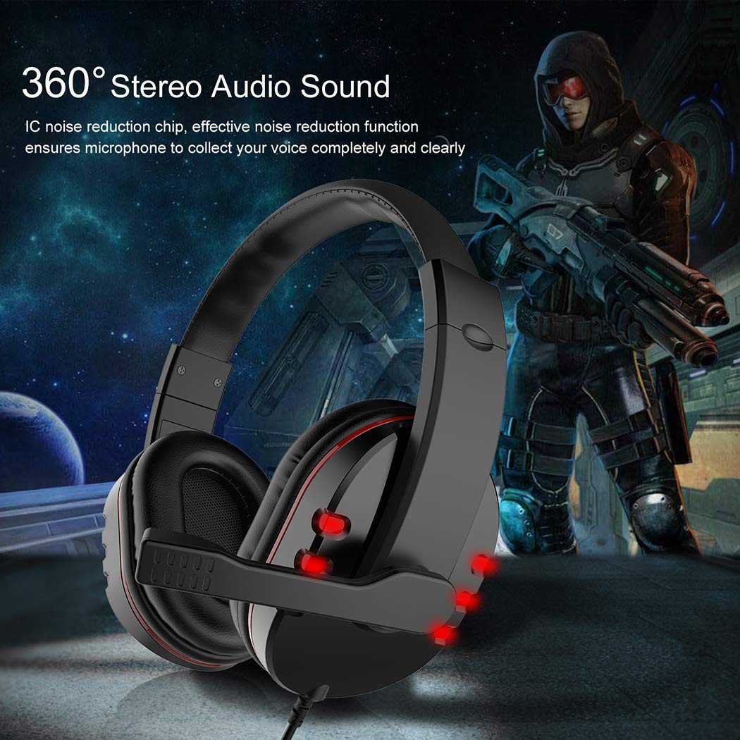 Gaming Headset LeftCafe Over-Ear Gaming Headphones 3.5mm Stereo Headband Headsets with Bass Surround Noise Canceling Microphone & Volume Control for PC Laptop Smartphone