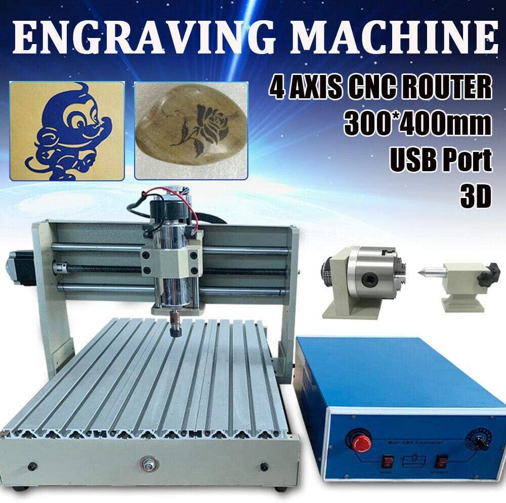 Werbedesign Kunstsch/öpfung 300 x 400mm USB Graveur Graviergerat CNC 3040 Router Desktop Graviermaschine 4Achse Fr/äsmaschine 3D Engraving machine kit f/ür Industrie