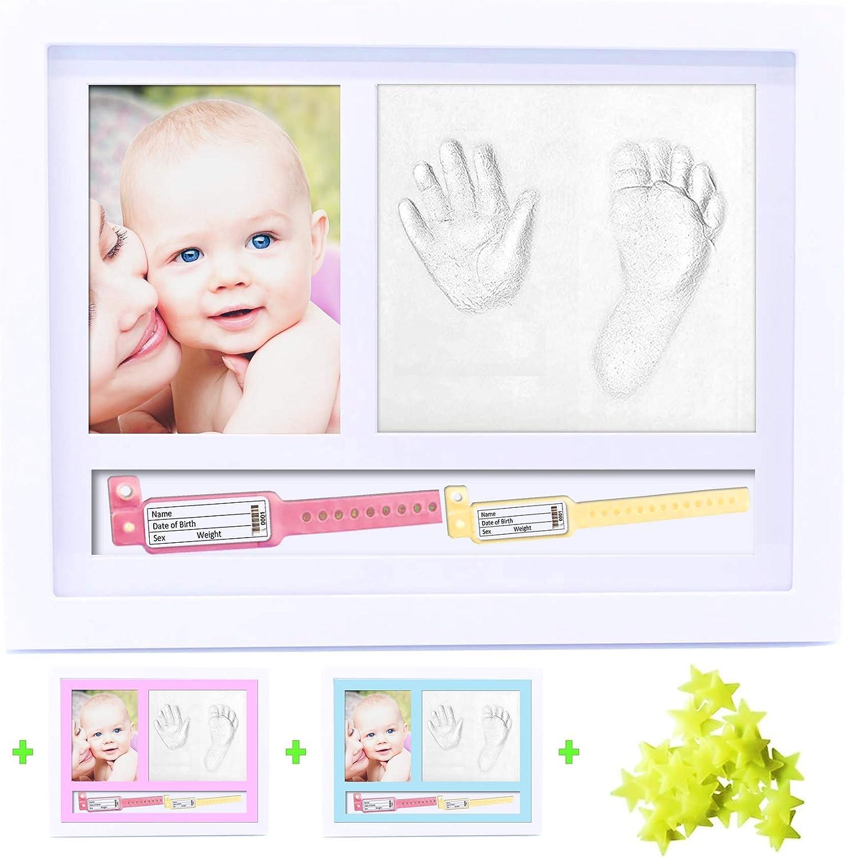 BELF1® Set de Marco de fotos y Huellas de bebé Pulseras de Nacimiento Marcos de fotos Huellas de bebés Conjunto de huellas Kit de niños Huella Mano y pie del bebé NEW MODEL 2020 (Estrellitas)
