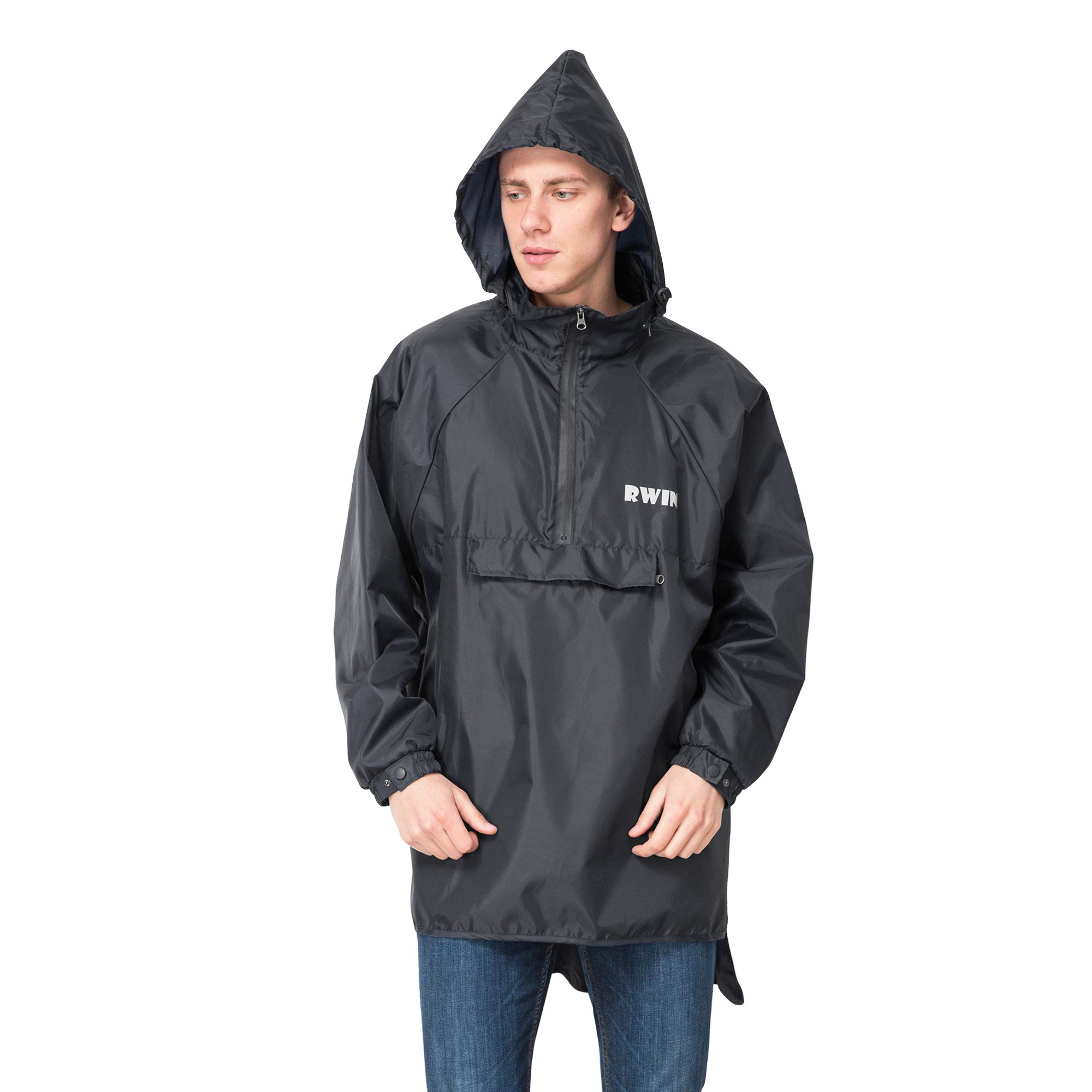 ZDHGLOBAL Men's Women's Resolve 2 Lightweight Long Rain Jacket-Black-S/M
