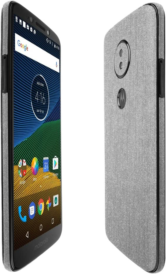 TechSkin with Anti-Bubble Clear Film Screen Protector Full Coverage Skinomi Black Carbon Fiber Full Body Skin Compatible with Motorola Moto G6