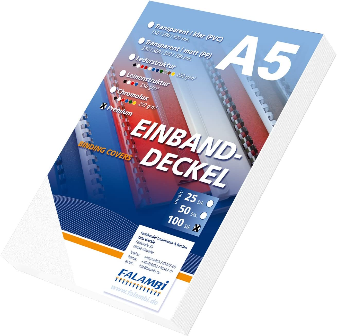 R/ückenkarton 100 Einbanddeckel DIN A5 Premium 240 blau Lederstruktur