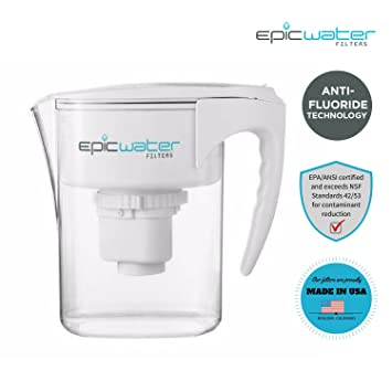 epic pure water filter jug without bpa removes fluoride lead chromium 6 removes pfos pfoa heavy metals micro organisms pesticides chemicals