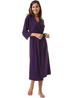 829f6dff4d SIORO Women s Kimono Robes Cotton Lightweight Robe Long Knit Bathrobe Soft  Sleepwear V-Neck Ladies