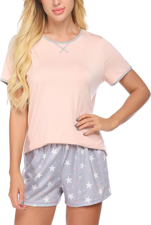 Ekouaer Pajamas Set for Teen Girls and Women Cute Printed Cartoon Sleep Shorts Tee Set More Soft Sleepwear for Juniors