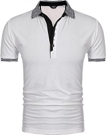 COOFANDY Camisa Blanca Hombre Polo Slim Fit Casual y Deportivo para el Verano: Amazon.es: Ropa y accesorios