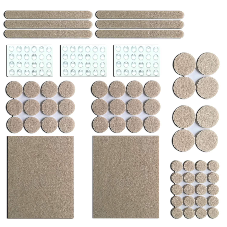 [132 Unidades] Almohadillas para Muebles, Canwn 60Pcs Autoadhesivas Almohadillas de Fieltro para Proteger Suelos de Madera y Muebles & 72Pcs Antideslizante Protectores de Goma Transparente
