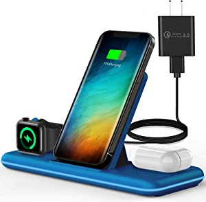 Olunnvi Wireless Charger, 3 in 1 Qi-Certified Wireless Charging Station for AirPods 2/Pro, Apple Watch Series Se 6 5 4 3 2 1, Compatible for iPhone 12/11 Series/XS MAX/XR/X/8/8 Plus/Samsung (Blue)