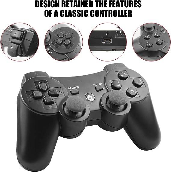 Diswoe Manette de Jeu /à Distance sans Fil pour PS3 Playstation 3 Double Shock avec c/âble de Charge USB