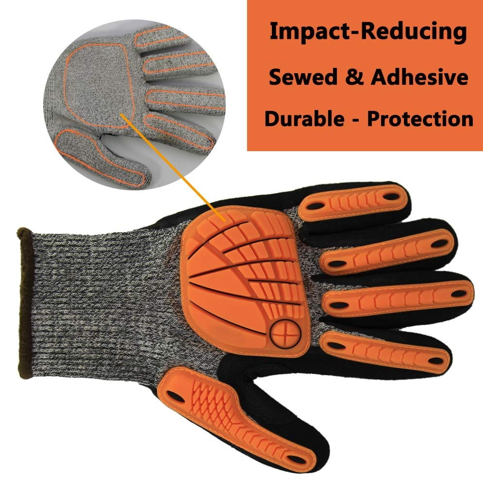 Impact Reducing Safety Gloves, Grip Coating Cut Resistant Work Gloves, Hands Protective for Mechanic Garden Construction Auto Industry Multipurpose (X-Large, Impact Reducing Gloves) by Hanhelp safety (Image #4)