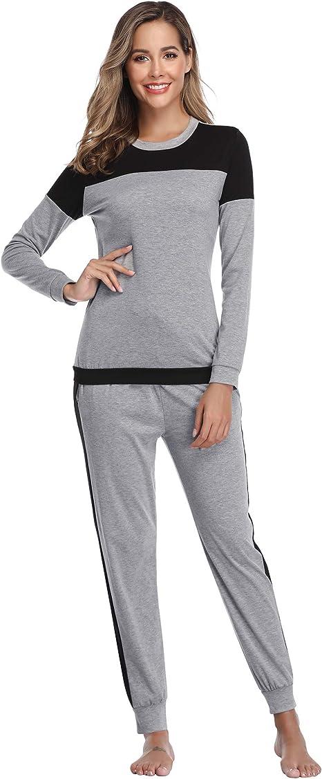 Aibrou Pijama Mujer Invierno Dos Piezas, Algodón Camiseta y ...