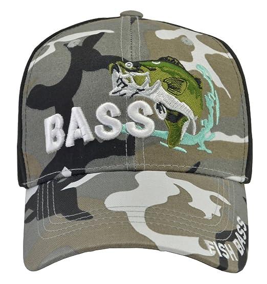 6e73d53369c Bass Fishing Hat Black Camo at Amazon Men s Clothing store