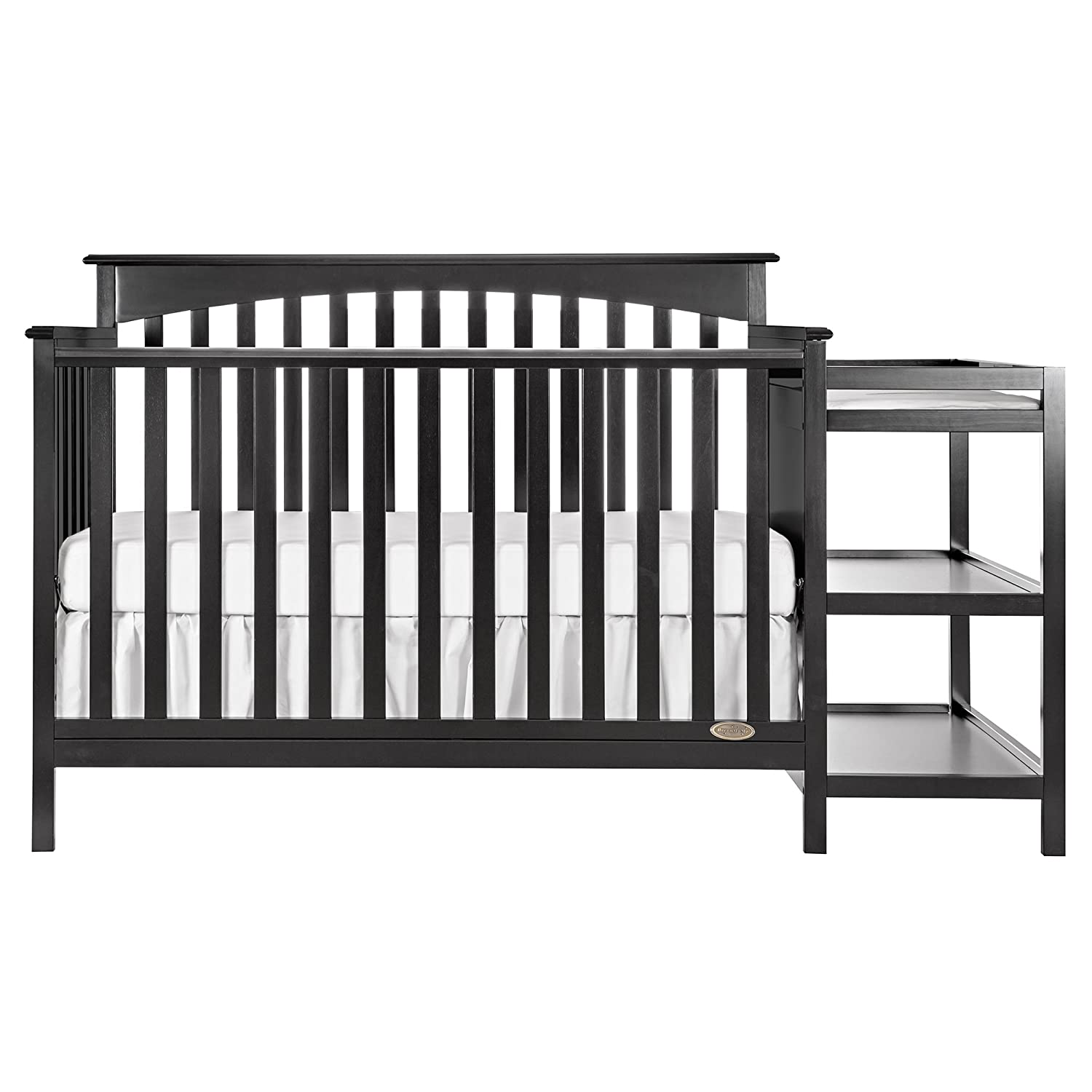 Dream On Me Chloe 5-in-1 Convertible Crib with Changer, Black