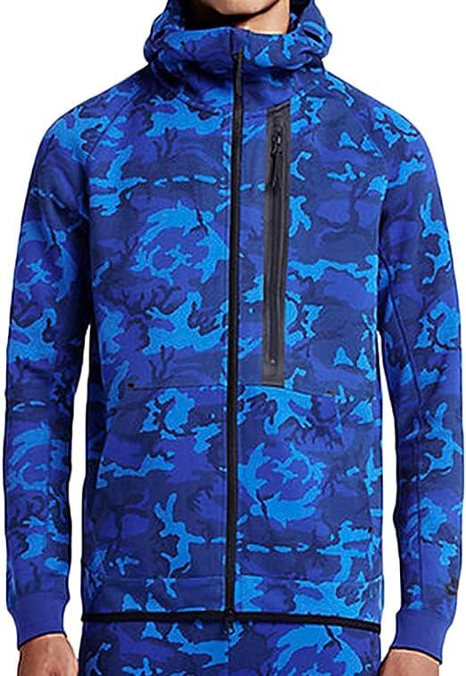 Nike de Hombre Tech Fleece Camuflaje Azul Windrunner Sudadera con Capucha, Negro, Azul, (Game Royal/Deep Royal Blue/Black/Black): Amazon.es: Deportes y aire libre