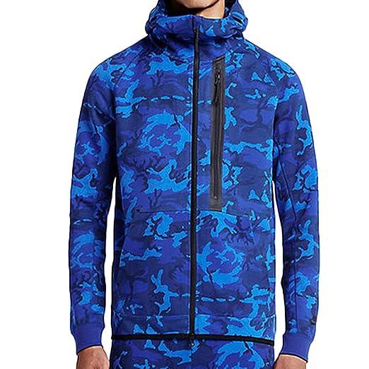 71658f2cf9be Amazon.com  Nike Tech Fleece Camo 1MM FZ Hoodie Blue Black Men s XXL ...