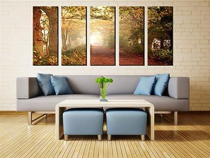 Amazon.com: QICAI Wall Art Framed Huge Canvas Print 5 Panel Forest ...