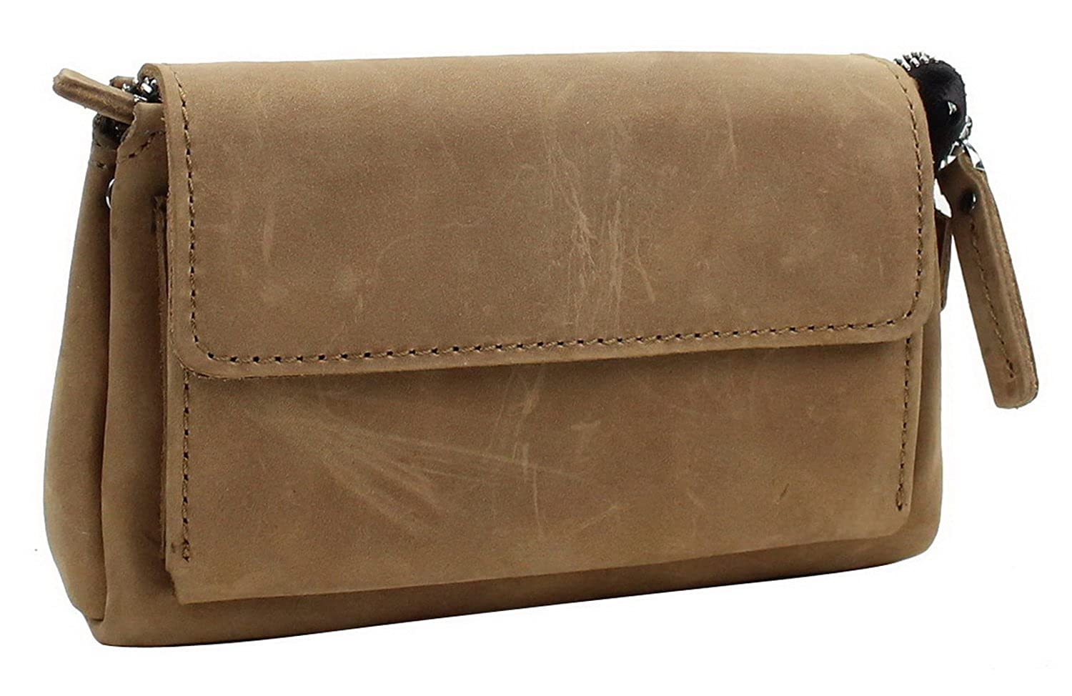 "8.5"" Cowhide Leather Large Clutch Bag LH01- Nature Brown"