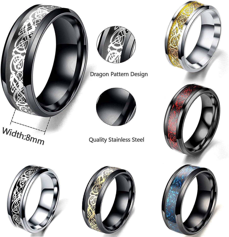 Size 7-12 JEWPARK 6Pcs 8mm Stainless Steel Rings for Men Celtic Dragon Beveled Edges Celtic Black Rings Carbide Wedding Band Ring Set