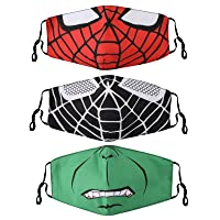 Kids Face Mask, 3 PCS Cartoons Reusable Face Cover Cotton Fabric Cover for Boys Girls Children Gift