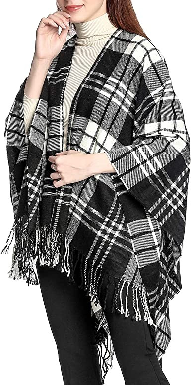 Cashmere Like Ladies Poncho Blanket Wrap Shawl Cape Jumper Gradient Double Sides