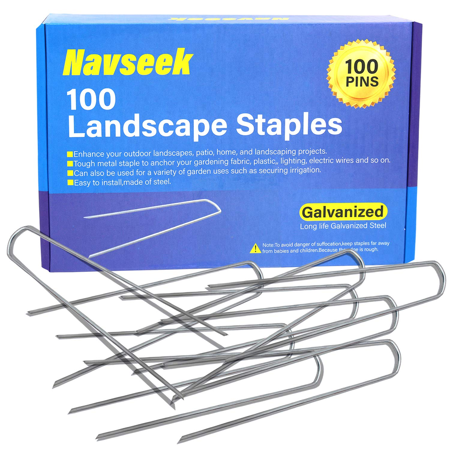 Navseek 100 Pack 6 inch Galvanized Garden Stakes Landscape Staples Sod Staples, Garden Staples Square Pins Sturdy Rust Resistant Fabric Anchor Pins (100)